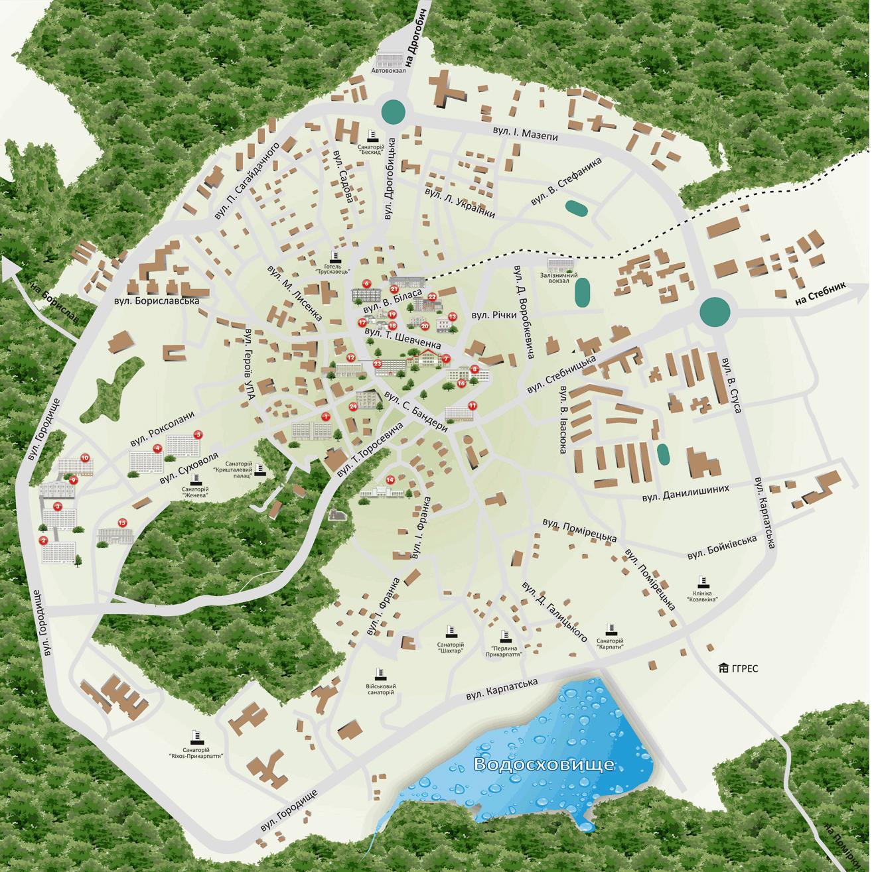 Туристическая карта Трускавца